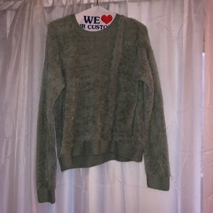 Top Shop fuzzy mint green sweater